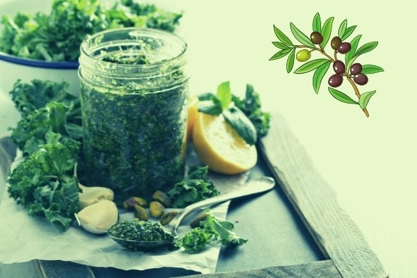 kale and olive juice mix