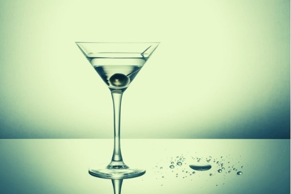 olive juice in a dirty martini
